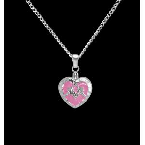 Pink Heart- Sterling Silver with Chain
