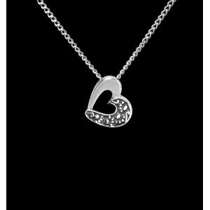 Angled Heart- Sterling Silver with Chain