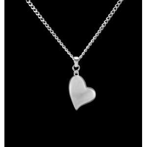 Canted Heart- Sterling Silver with Chain