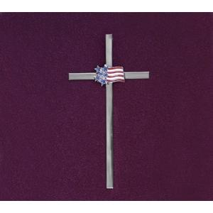 Cross with Flag, red,white & blue