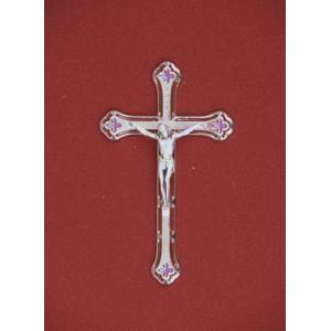 Silver/Red/Magenta Crucifix, Urn Applique