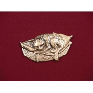 Cat In Bed – Bronze Pet Urn Applique