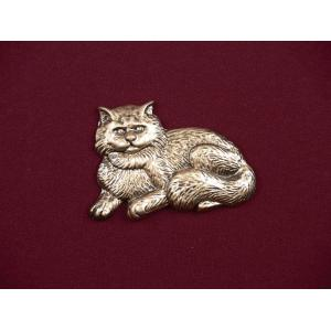 Fluffy Cat - Bronze Pet Urn Applique