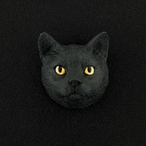 Black Tabby (shorthair) 3D Pet Head Cremation Urn Applique