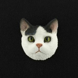 Black & White Tabby (shorthair) 3D Pet Head Cremation Urn Applique