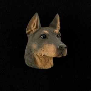 Doberman (red) 3D Pet Head Cremation Urn Applique