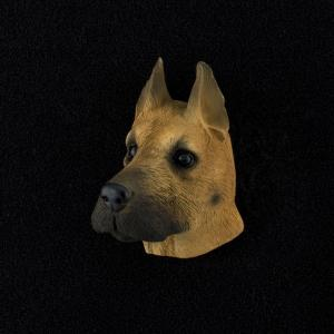 Great Dane (fawn) 3D Pet Head Cremation Urn Applique